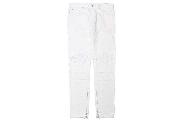 mnml M1 DENIM PANTS (P150: WHITE)ミニマル/ スリム デニムパンツ/白