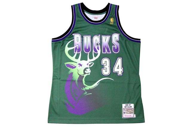 【一部予約販売】 ●MITCHELL&NESS AUTHENTIC AUTHENTIC THROWBACK JERSEY THROWBACK (NBA (NBA/MILWAUKEE/MILWAUKEE BUCKS/96-97/RAY ALLEN: GREEN)ミッチェル&ネス/スローバックバスケットゲームジャージ/緑, オシャマンベチョウ:d5100d4d --- canoncity.azurewebsites.net