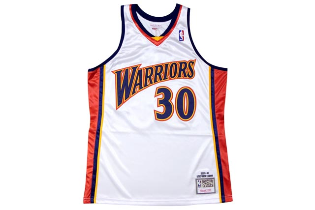●MITCHELL&NESS AUTHENTIC THROWBACK JERSEY (NBA/GOLDEN STATE WARRIOURS/09-10/STEPHEN CURRY: WHITE)ミッチェル&ネス/スローバックバスケットゲームジャージ/白