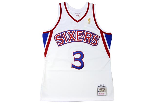 ●MITCHELL&NESS AUTHENTIC THROWBACK JERSEY (NBA/(PHILADELPHIA 76ERS/96-97/ALLEN IVERSON: WHITE)ミッチェル&ネス/スローバックバスケットゲームジャージ/白