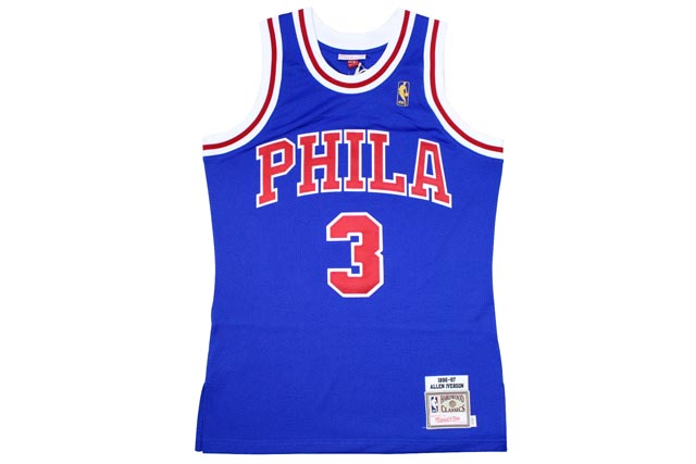 MITCHELL&NESS AUTHENTIC THROWBACK JERSEY (1996-97 Philadelphia 76ers/Allen Iverson : BLUE)ミッチェル&ネス/スローバックジャージー/青