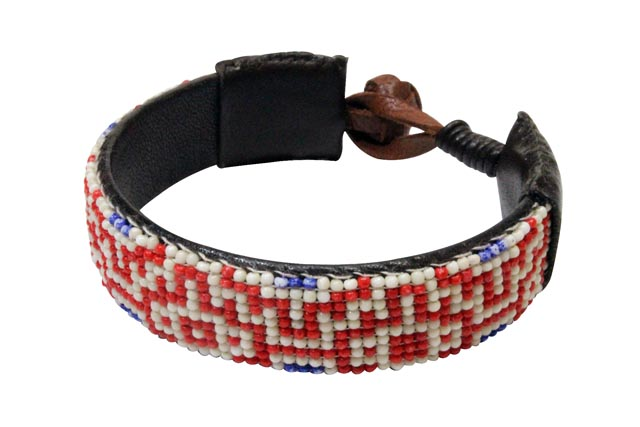 HTC (Hollywood Trading Company) MARY SLIM BRACELET (13SHTBR048: Red/White)エイチティーシー/レザーブレスレット