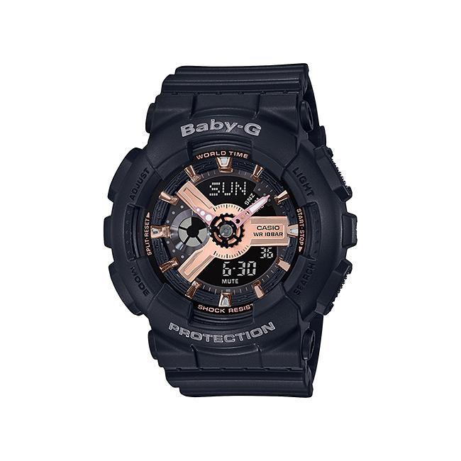 【10年保証】CASIO BABY-G カシオ ベビーG BA-110RG-1A 腕時計 レディース キッズ 子供 女の子 アナデジ 防水 ブラック 黒 ローズゴールド