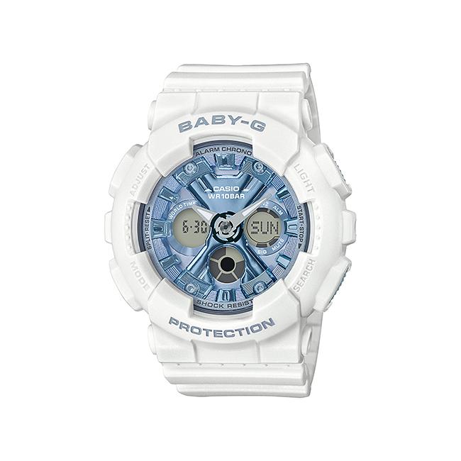 【10年保証】CASIO BABY-G カシオ ベビーG BA-130-7A2 腕時計 レディース キッズ 子供 女の子 アナデジ 防水 ホワイト 白 スカイブルー 水色