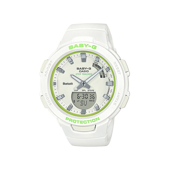 CASIO BABY-G カシオ ベビーG Gスクワッド BSA-B100SC-7AJF 腕時計 レディース キッズ 子供 女の子 ランニングウォッチ アナデジ ブルートゥース 防水 ホワイト 白 イエローグリーン 黄緑