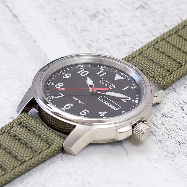 【10年保証】CITIZEN シチズン エコドライブ チャンドラー BM8180-03E 腕時計 メンズ 逆輸入 ミリタリー アナログ ソーラー カーキ ブラック 黒 ナイロンベルト 海外モデル