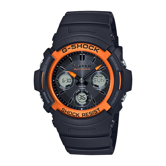 CASIO G-SHOCK カシオ Gショック AWG-M100SF-1A4JR 腕時計 メンズ キッズ 子供 男の子 アナデジ 電波 ソーラー ソーラー電波時計 防水 ブラック 黒 オレンジ