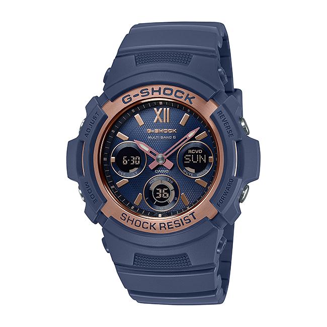 CASIO G-SHOCK カシオ Gショック AWG-M100SNR-2AJF 腕時計 メンズ キッズ 子供 男の子 アナデジ 電波 ソーラー ソーラー電波時計 防水 ネイビー ローズゴールド