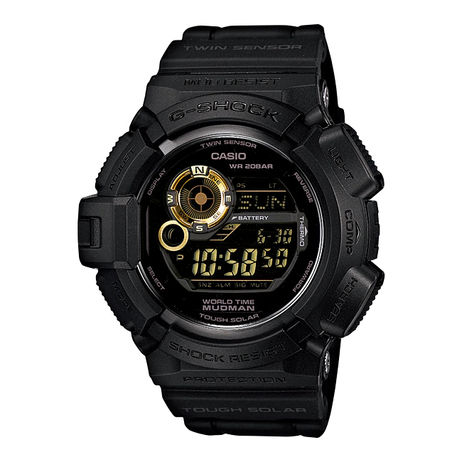 【10年保証】【日本未発売】CASIO G-SHOCK カシオ Gショック マッドマン G-9300GB-1 腕時計 メンズ キッズ 子供 男の子 デジタル ソーラー 防水 ブラック 黒 ゴールド 金 海外モデル