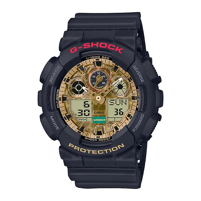 CASIO G-SHOCK カシオ Gショック GA-100TMN-1AJR 腕時計 メンズ キッズ 子供 男の子 アナデジ 防水 ブラック 黒 ゴールド 金