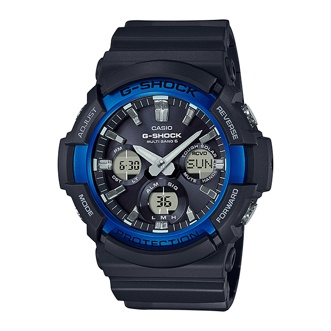 【10年保証】CASIO G-SHOCK カシオ Gショック GAW-100B-1A2 腕時計 メンズ キッズ 子供 男の子 アナデジ 電波 ソーラー ソーラー電波時計 防水 ブラック 黒 ブルー 青