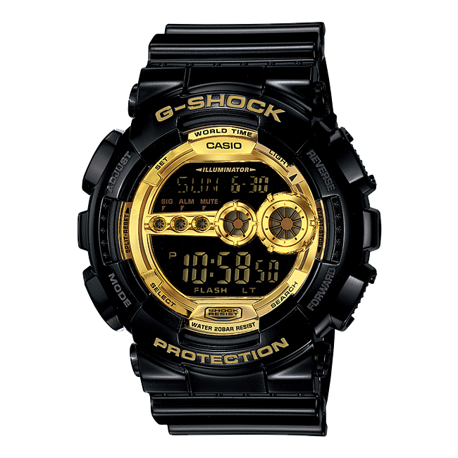 CASIO G-SHOCK カシオ Gショック GD-100GB-1JF 腕時計 メンズ キッズ 子供 男の子 デジタル 防水 ブラック 黒 ゴールド 金