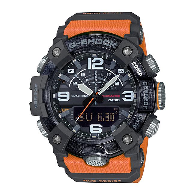 【10年保証】CASIO G-SHOCK カシオ Gショック マッドマスター GG-B100-1A9 腕時計 メンズ キッズ 子供 男の子 アナデジ ブルートゥース 防水 ブラック 黒 オレンジ