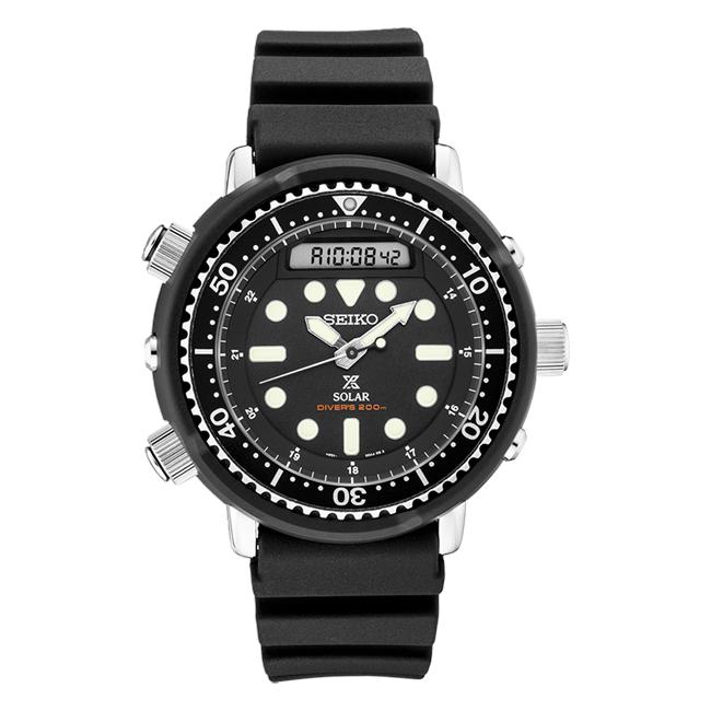 【10年保証】【日本未発売】SEIKO PROSPEX セイコー プロスペックス ソーラー ダイバー SNJ025 腕時計 メンズ 逆輸入 アナデジ ブラック 黒 海外モデル