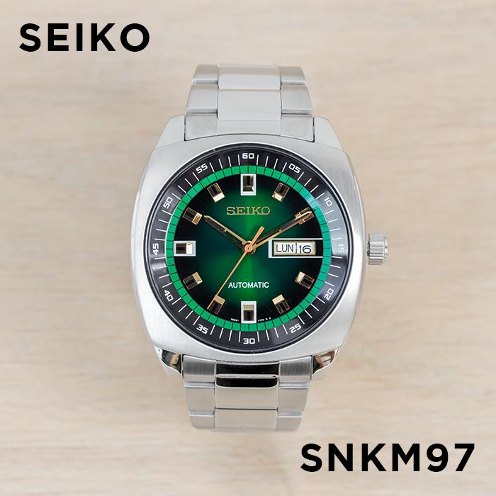 【10年保証】【日本未発売】SEIKO セイコー リクラフト オートマチック SNKM97 腕時計 メンズ 逆輸入 アナログ シルバー グリーン 緑 海外モデル