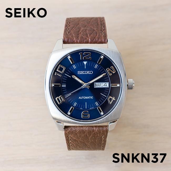 【10年保証】【日本未発売】SEIKO セイコー リクラフト オートマチック SNKN37 腕時計 メンズ 逆輸入 アナログ シルバー ネイビー レザー 革ベルト 海外モデル