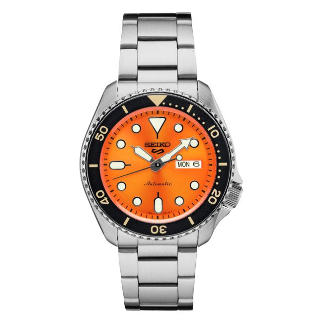 【10年保証】SEIKO セイコー 5 スポーツ オートマチック SRPD59 腕時計 メンズ 逆輸入 ダイバー風 アナログ オレンジ シルバー