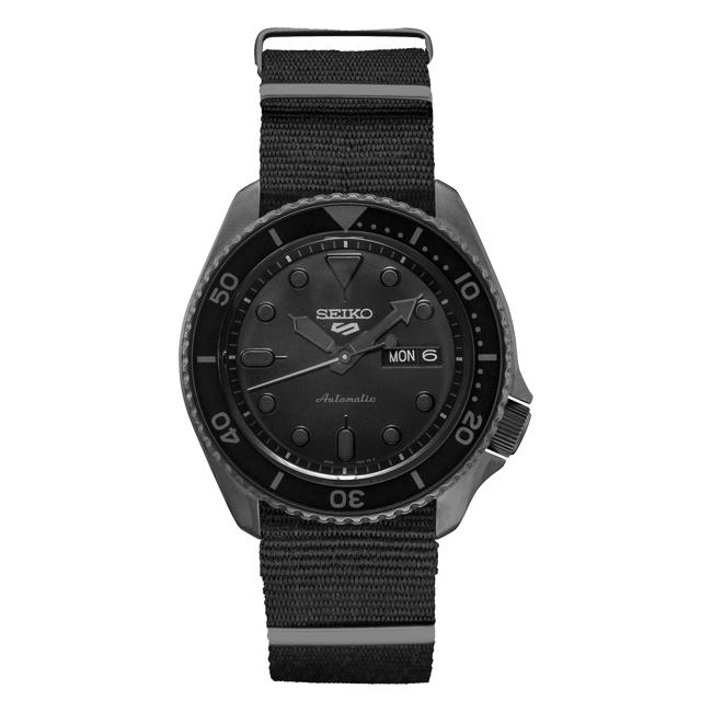 【10年保証】SEIKO セイコー 5 スポーツ オートマチック SRPD79 腕時計 メンズ 逆輸入 ダイバー風 アナログ ブラック 黒 オールブラック ナイロンベルト