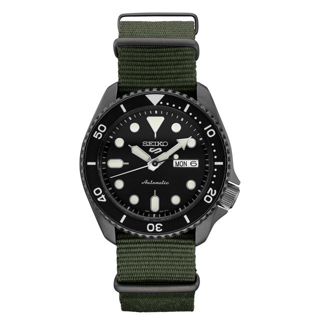 【10年保証】SEIKO セイコー 5 スポーツ オートマチック SRPD91 腕時計 メンズ ダイバー風 逆輸入 アナログ ブラック 黒 カーキ ナイロンベルト 海外モデル