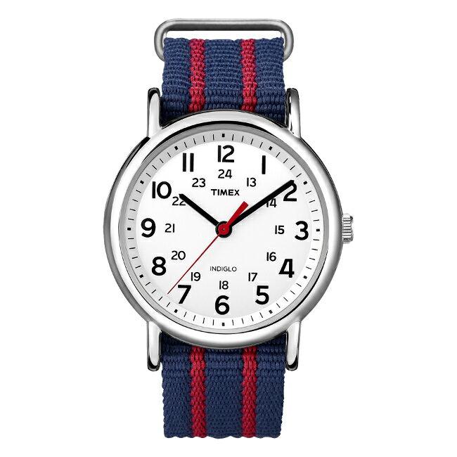 TIMEX タイメックス ウィークエンダー 38MM メンズ T2N747 腕時計 レディース アナログ ネイビー ホワイト 白 ストライプ ナイロンベルト