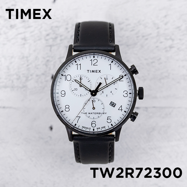 TIMEX タイメックス ザ ウォーターベリー クラシック クロノグラフ 40MM TW2R72300 腕時計 メンズ ミリタリー アナログ ブラック 黒 ホワイト 白 レザー 革ベルト