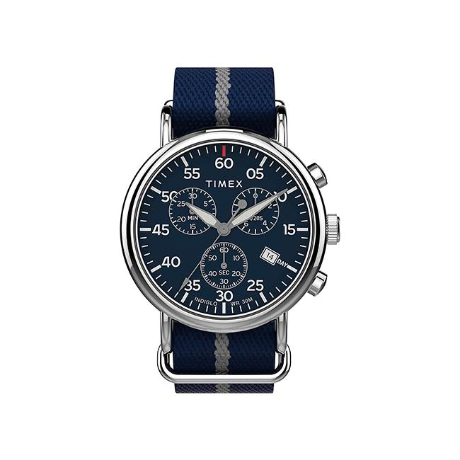 【日本未発売】TIMEX タイメックス ウィークエンダー クロノグラフ 40MM TW2T73800 腕時計 メンズ ミリタリー アナログ ネイビー シルバー ナイロンベルト 海外モデル
