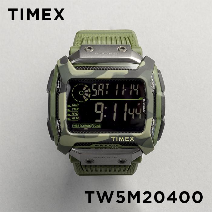 TIMEX タイメックス コマンド ショック 54MM TW5M20400 腕時計 メンズ デジタル カーキ ブラック 黒 カモフラージュ 迷彩