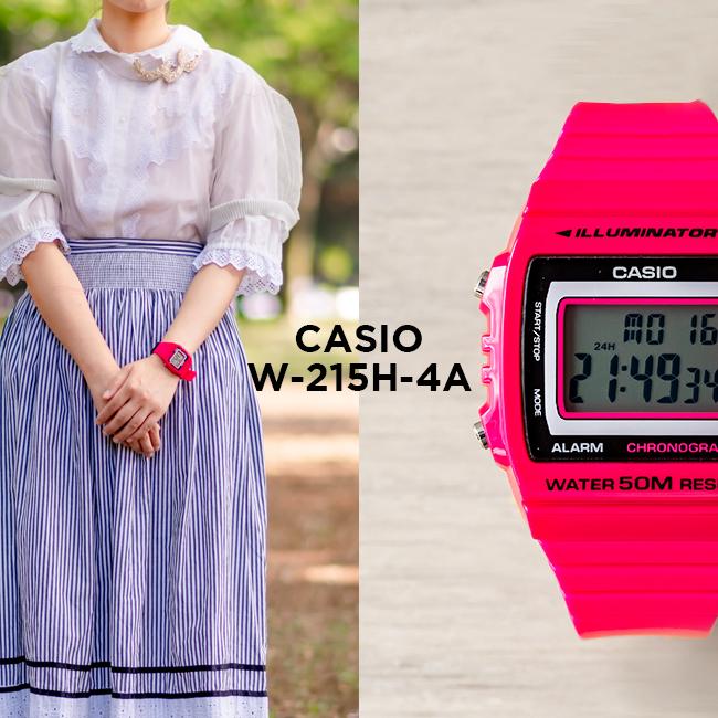 【10年保証】CASIO STANDARD DIGITAL カシオ スタンダード デジタル W-215H-4A 腕時計 メンズ レディース キッズ 子供 男の子 女の子 チープカシオ チプカシ プチプラ ピンク ブラック 黒 海外モデル