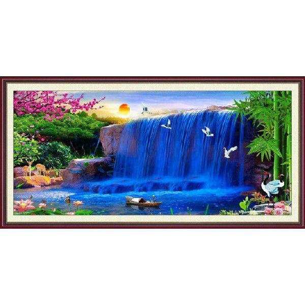 クロスステッチ 刺繍キット 夢の滝 大画 2m超 図柄印刷