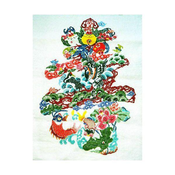 DMC糸 クロスステッチ刺繍キット 寿 図柄印刷