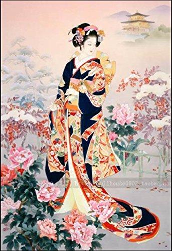 ししゅう糸 DMC糸 クロスステッチ刺繍キット 布地に図柄印刷 日本芸妓Part7