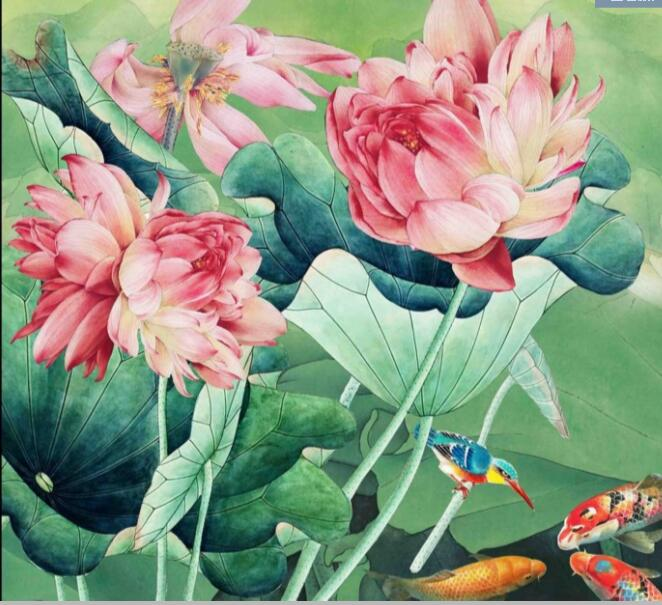 ししゅう糸 DMC糸 クロスステッチ刺繍キット 布地に図柄印刷 蓮花鯉