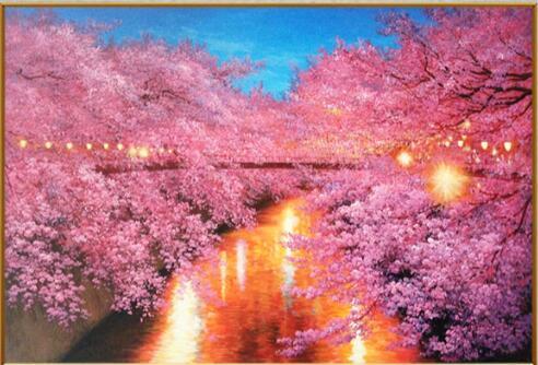 ししゅう糸 DMC糸 クロスステッチ刺繍キット 布地に図柄印刷 夜桜