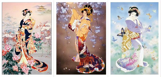 ししゅう糸 DMC糸 クロスステッチ刺繍キット 布地に図柄印刷 日本芸妓3画セット