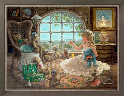 ししゅう糸 DMC糸 クロスステッチ刺繍キット 布地に図柄印刷 女の子とリトルベアー (A)