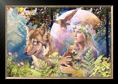 ししゅう糸 DMC糸 クロスステッチ刺繍キット 布地に図柄印刷 ウルフと森林の女