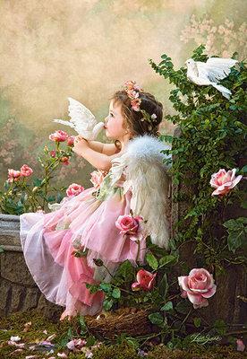 ししゅう糸 DMC糸 クロスステッチ刺繍キット 布地に図柄印刷 小天使のキス
