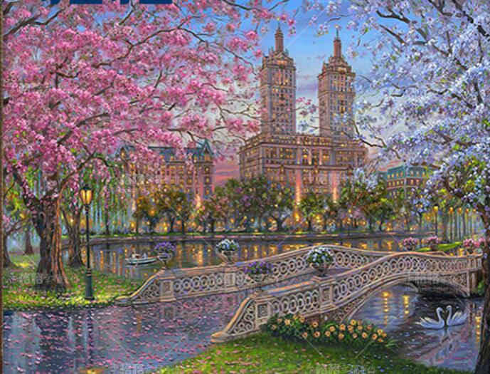 ししゅう糸 DMC糸 クロスステッチ刺繍キット 布地に図柄印刷 欧州春風景