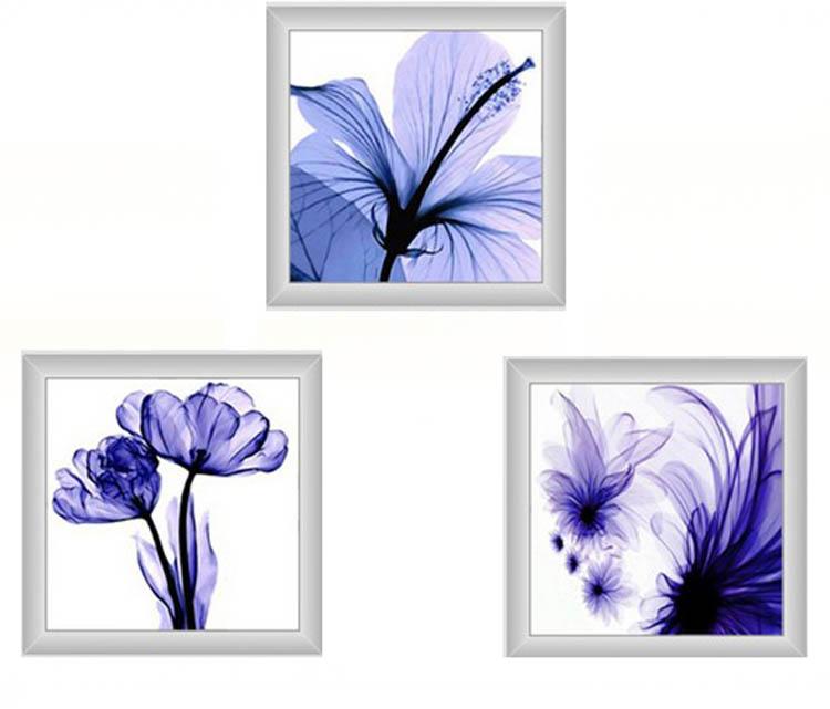 クロスステッチ 刺繍キット 3画 藍色ロマン花弁 (DMC刺繍糸) 図柄印刷