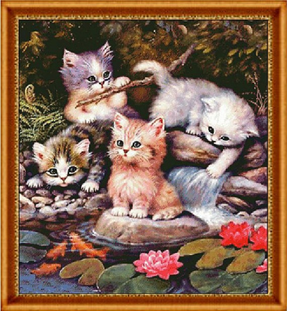 クロスステッチ 刺繍キット PLAYFUL CATS (DMC刺繍糸) 図柄印刷