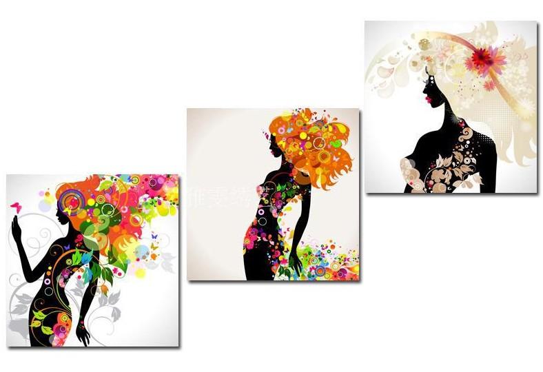 クロスステッチ 刺繍キット 3画 FASHION GIRLS (DMC刺繍糸) 図柄印刷