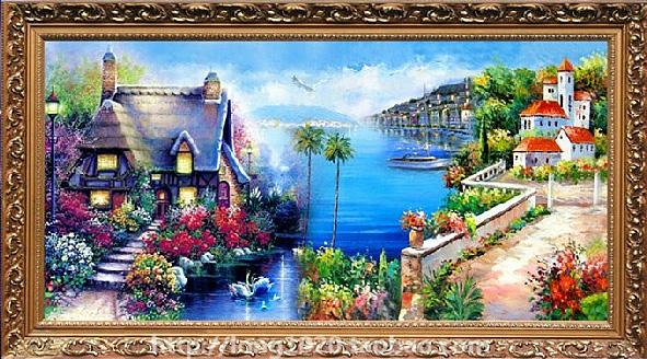 カラービーズストーン画 地中海風景 DIY 8109