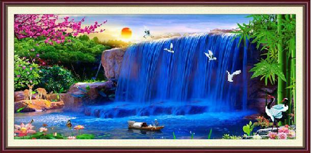 カラービーズストーン画 夢の滝 DIY 8114