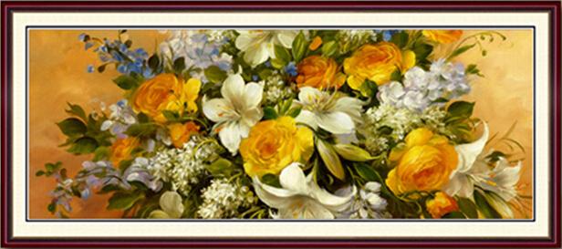 クロスステッチ刺繍キット DMC糸 布地に図柄印刷 薔薇百合園