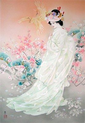 ししゅう糸 DMC糸 クロスステッチ刺繍キット 布地に図柄印刷 日本嫁入り
