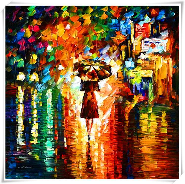 クロスステッチ 刺繍キット 雨中ロマン散歩 (DMC刺繍糸) 図柄印刷