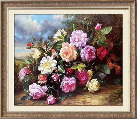 クロスステッチ 刺繍キット DMC糸 布地に図柄印刷 油絵薔薇