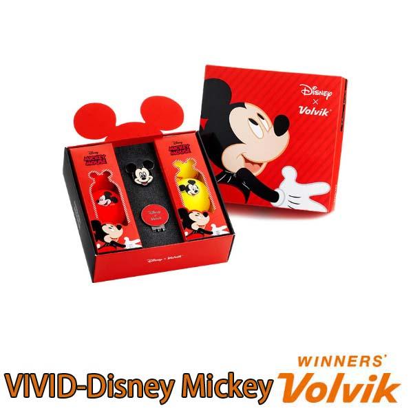 VOLVIK VIVID-Disney Mickey GOLFBALL ボルビック ヴィヴィッドディズニー ミッキー ゴルフボールクリップマーカー付き6個入り