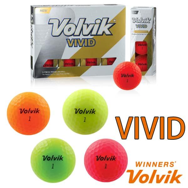 VOLVIK VIVIDボルビック ゴルフボール【1ダース】【中級・上級者向け】【マット仕上げ】【蛍光カラーボール】