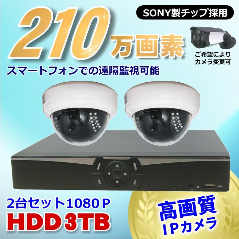 防犯カメラ 210万画素 4CH NVRレコーダー SONY製 ドーム型 IPカメラ 2台セット (LAN接続)HDD3TB 1080P フルHD 高画質 監視カメラ 屋内 赤外線 夜間撮影 3.6mmレンズ